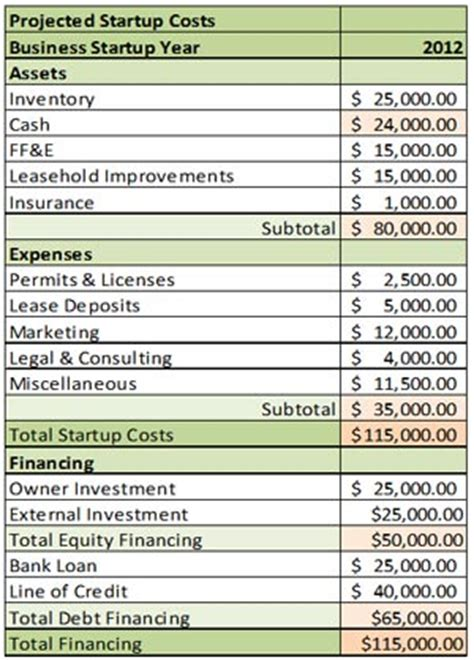 Projected Start Up Costs Small Business Bc Projected Expenses Template
