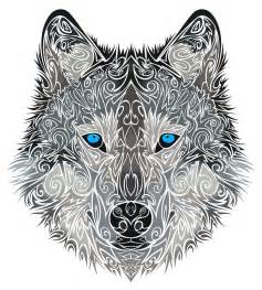 charming ornamented blue eyed wolf tattoo design