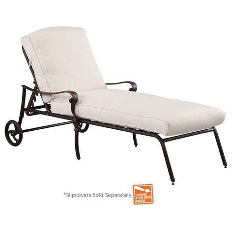 Outdoor Chaise Lounge Cushion Slipcovers hton bay edington cast back adjustable patio chaise lounge with cushion insert slipcovers