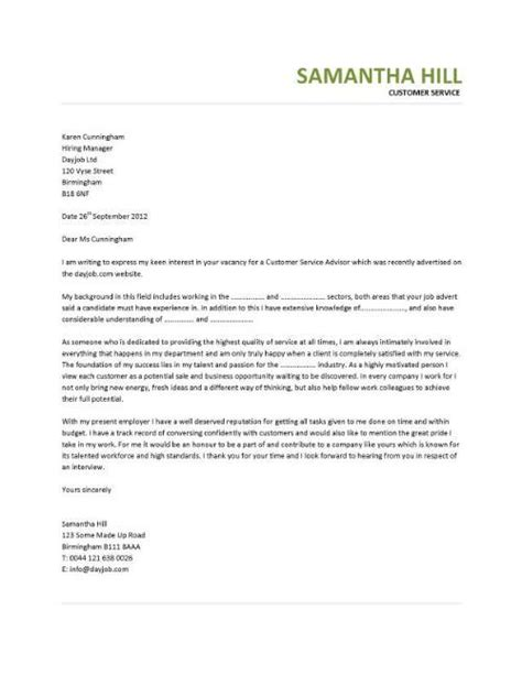covering letter exle may 2015