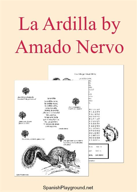 printable children s poems poem la ardilla with printable activities spanish playground