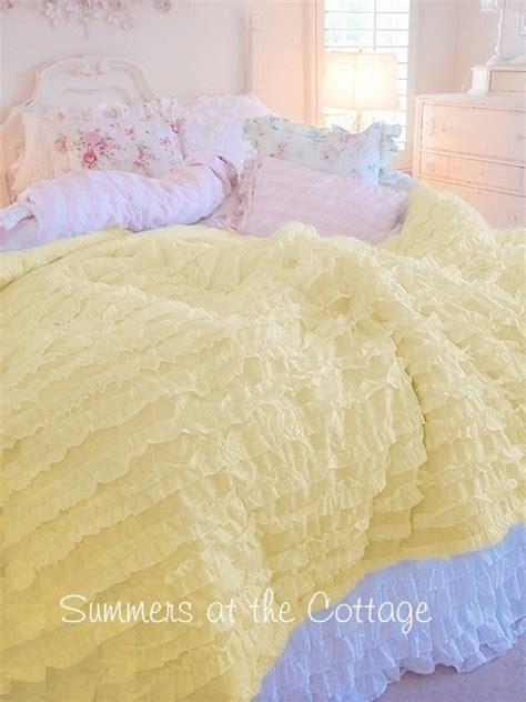 yellow ruffle comforter shabby sunny yellow cottage chic ruffled comforter set