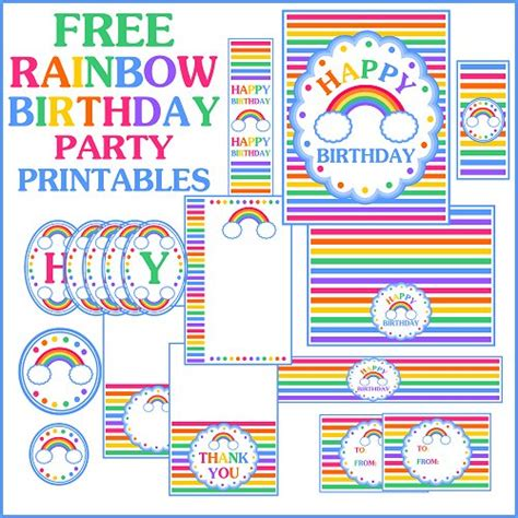 free printable party decorations online free rainbow birthday printables from printabelle catch