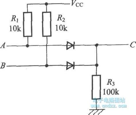 resistor diode circuit the or circuit c a b composed of diode and resistor basic circuit circuit diagram