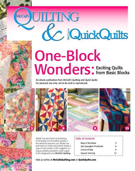 Mccalls Patchwork Patterns - free downloadable ebook of 4 one block quilt patterns from