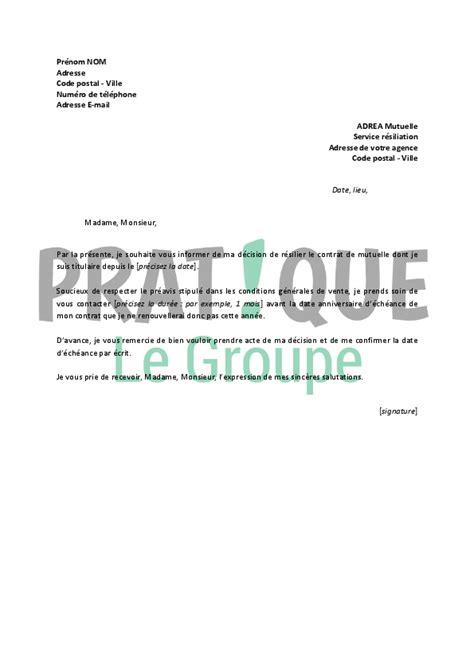 Modele Lettre Resiliation Mutuelle Pdf Lettre De R 233 Siliation Adrea Mutuelle Pratique Fr
