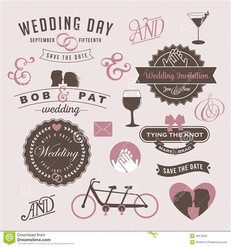 Vintage Wedding Invitation Design Graphic Elements Stock