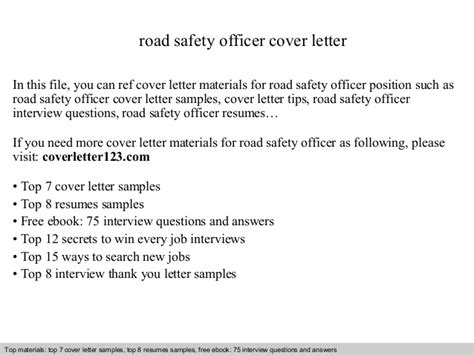 Official Letter On Road Safety Road Safety Officer Cover Letter