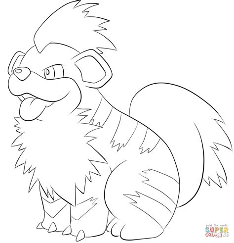 pokemon coloring pages arcanine growlithe coloring page free printable coloring pages