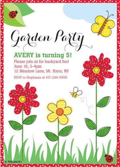 printable garden party decorations flower garden party invitation custom printable garden