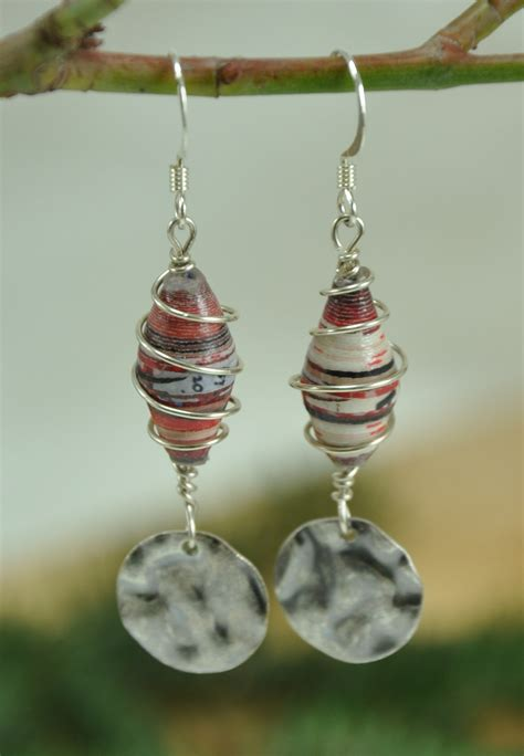 Earrings With Paper - black and white striped wire wrapped paper bead