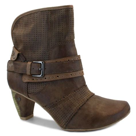 Ankle Boots Black Brown Synthetic Leather mustang 1053 506 63 womens bluckle zip synthetic leather ankle boots brown