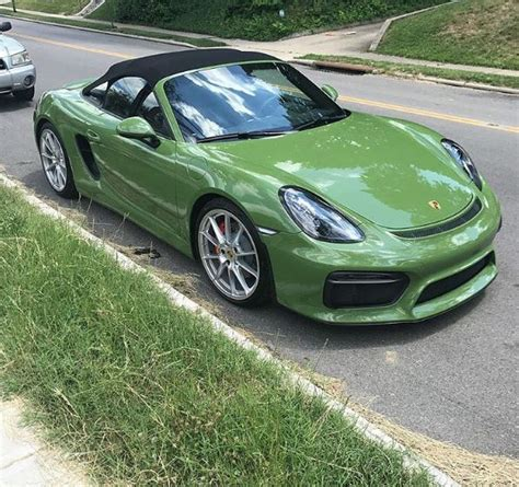 green porsche boxster olive green porsche boxster spyder is a gift from god
