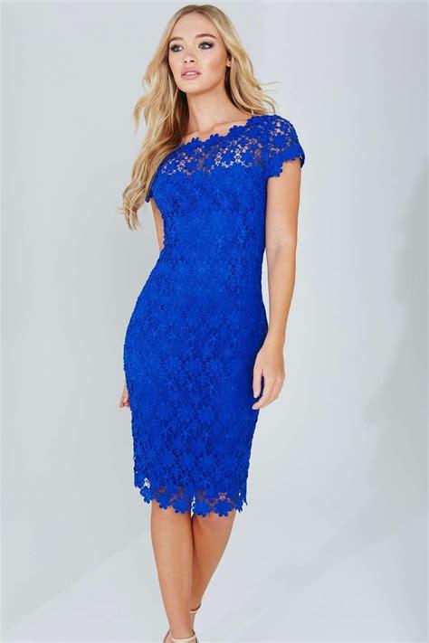 Lace Blue Dress by Paper Dolls Blue V Neck Crochet Lace Dress Wallis