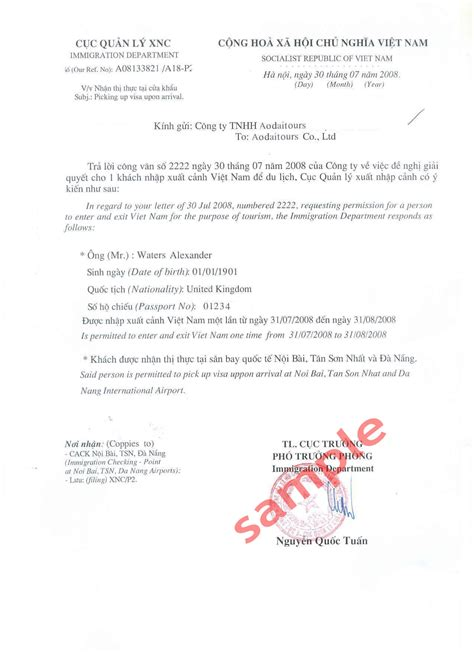 Visa Letter Hotel Thinh Grand Hotel