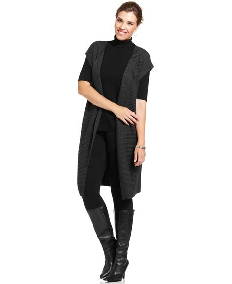 Cardigan Maxi Stella jones new york collection plus size openfront maxi