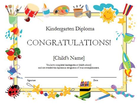 templates for preschool certificates kindergarten diploma certificate templates office com