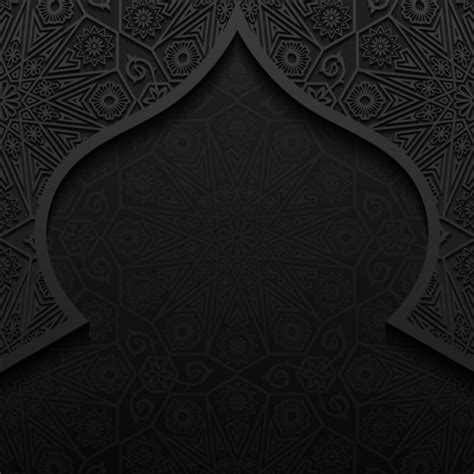 islamic pattern background black islamic mosque with black background vector 09 vector