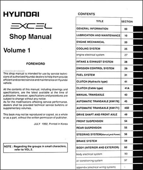 vehicle repair manual 1993 hyundai excel free book repair manuals 1993 hyundai excel repair shop manual original 2 volume set