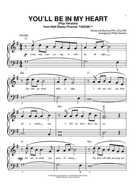Tattooed Heart Sheet Music Pdf | you ll be in my heart pop version sheet music by philip