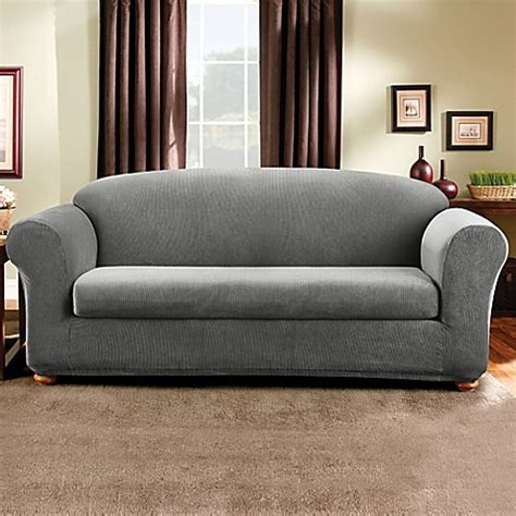 sure fit grey slipcover buy sure fit 174 madison stripe 2 piece sofa slipcover in