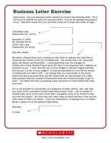 Business Letter Sample 6th Grade Business Letter Writing Exercise Business Letter 2017