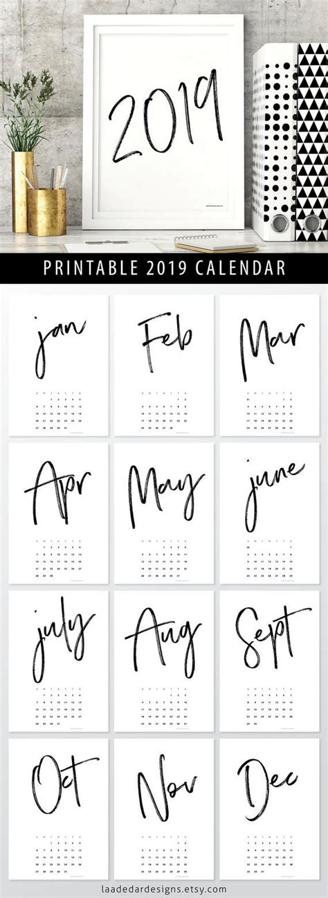 printable calendar  instant   month  year wall art month  day