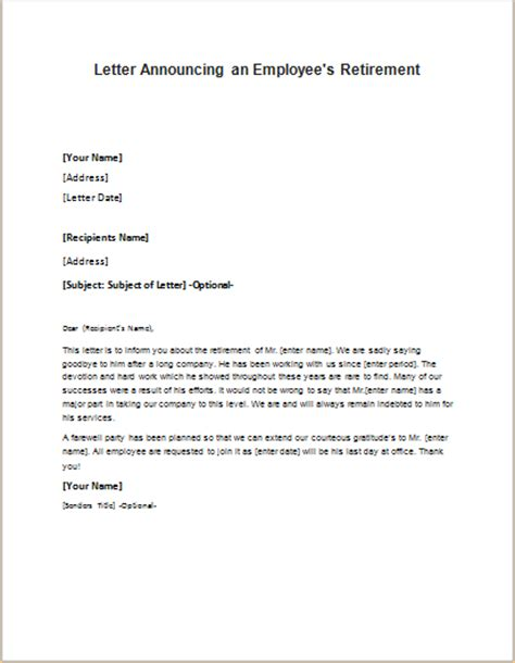Resignation Letter Sle Retirement Retirement Letter Retirement Letters Livecareer Sle Of Retirement Letters From Employers