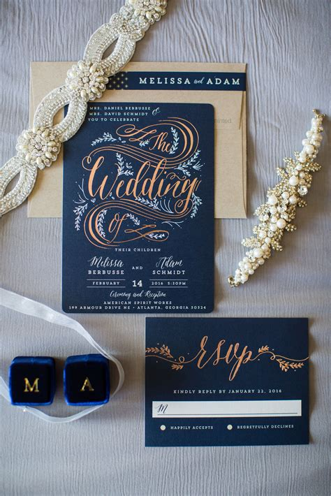 Wedding Invitations Atlanta by Custom Wedding Invitation Suite From Minted Navy And