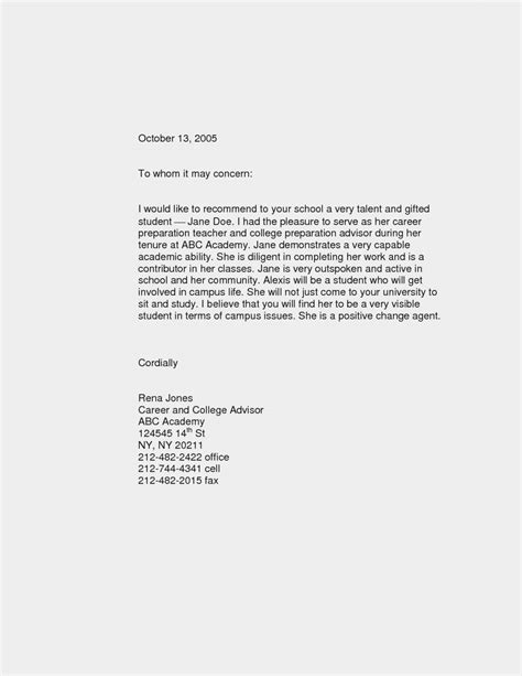 Recommendation Letter For High Student Letter Of Recommendation Template For Studentmemo