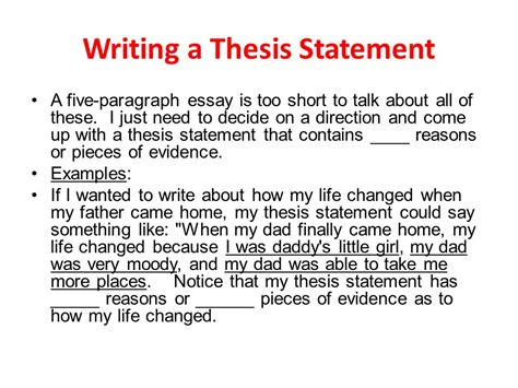 a dissertation writing a thesis statement ppt