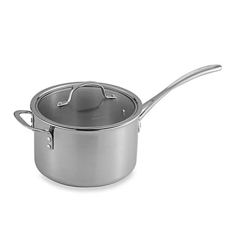 bed bath and beyond calphalon calphalon 174 tri ply stainless steel 4 5 quart saucepan with