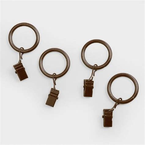 Curtains For Clip Rings Walnut Curtain Rod Clip Rings Set Of 10 World Market