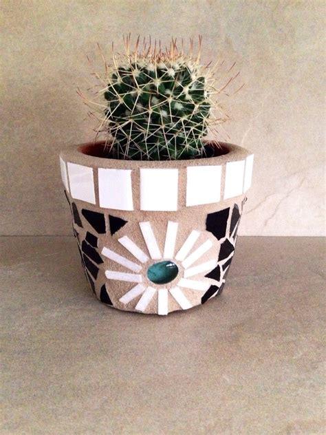 small mosaic planter tiny succulent pot rustic mosaic flower