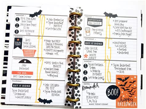 planner layout halloween themed layout in the mini black white happy