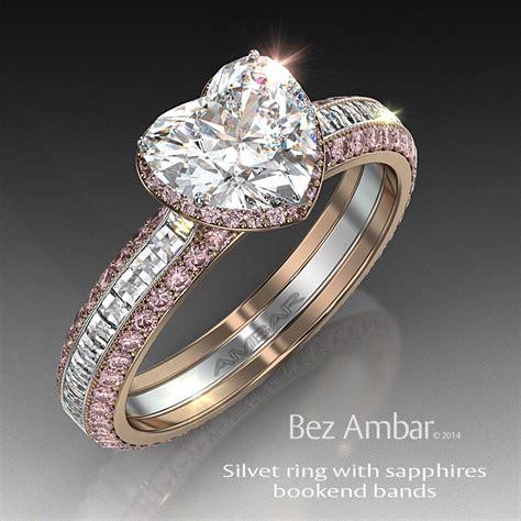 pink sapphire engagement ring set