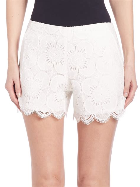 Lace Shorts lyst lace shorts in white
