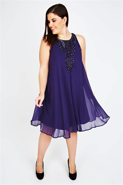 Purple Chiffon Sleeveless Swing Dress With Black Bead