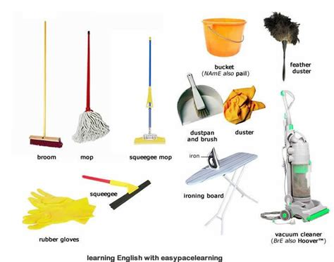 cleaning equipment learning  vocabulary