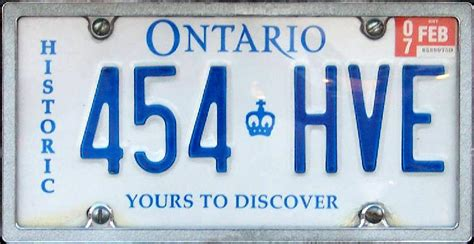 Ontario Vanity Plates by Historic License Plates Ontario Image Mag