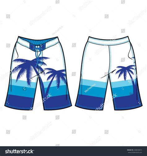 Men Board Shorts Vector Template Stock Vector 248650072 Shutterstock Board Shorts Template