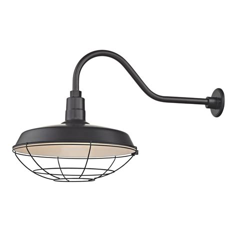 black gooseneck barn light black gooseneck barn light with 18 quot caged shade bl armq