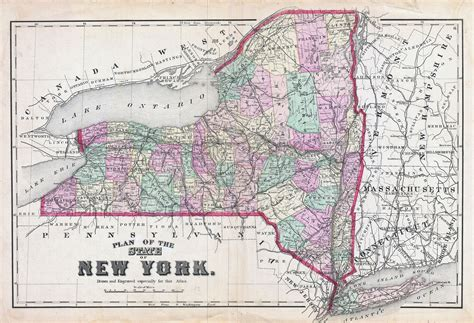 new york on the map of usa large detailed administrative map of new york state