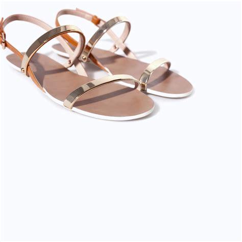 Metallic Sandal zara flat sandals with metallic straps in gold lyst