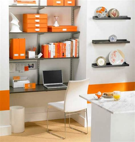 Small Office Room Design Ideas Small Modern Home Office Ideas With Orange Folders White Chairs And Floating Shelves With