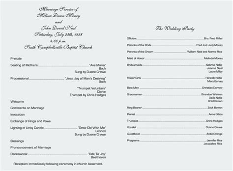 traditional wedding program templates wedding program ideas ceremony outline methodist take