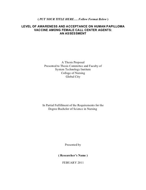 thesis title nursing thesis format