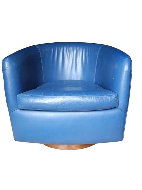 Blue Leather Swivel Chair by Pair Of Mid Century Modern Blue Leather Swivel Lounge