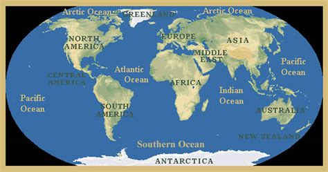 World Map Oceans by World Map Oceans And Continents