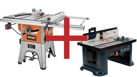 table saw with router ridgid table saw r4512 mount bosch router table ra1181